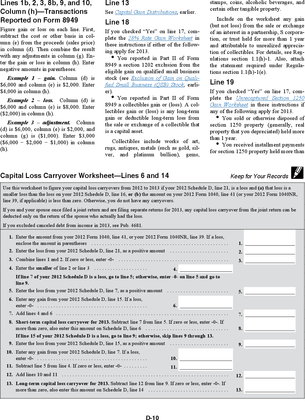 Free Worksheet Capital Loss Carryover Worksheet 2013 form 8949 online generation of irs schedule d and for just 10 00